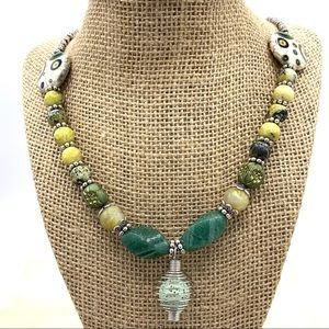 Boho yellow turquoise beaded diffuser necklace